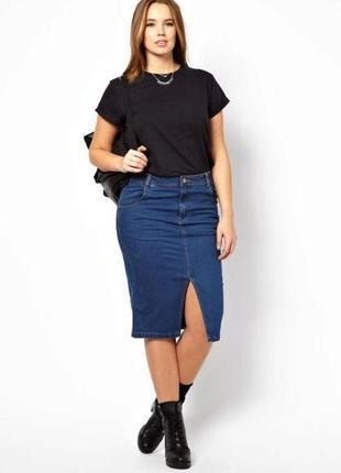 Стильная прямая джинсовая юбка miss selfridge