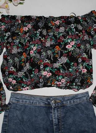 Топ укорочений, футболка в квіти, укороченный топ в цветы