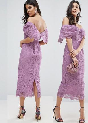 Облегающее ажурное кружевное платье-футляр asos миди с открытыми плечами