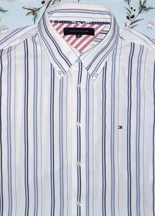 Акция 1+1=3 крутая белая рубашка в полоску tommy hilfiger, размер 46 - 48
