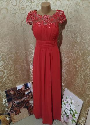 Очень нежное платье красного цвета на выпускной вечернее с кружевным верхом