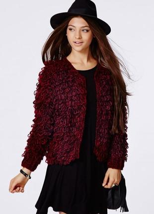 Лохматая кофта missguided catriona loop knit shrug cardigan цвета марсала