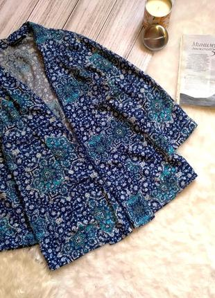 Легкий летний пиджак накидка в королевский принт размер 10-12 (40-42)