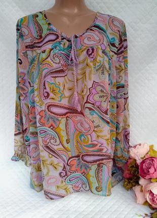 Красивая шифоновая блуза в королевский принт свободного кроя размер 16-18 (46-48)