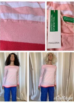 Италия мягкий тонкий хлопковый джемпер свитер 100% хлопок benetton
