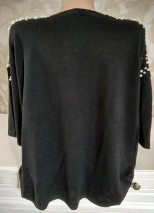 Блузка трикотвжная с жемчугом5 фото