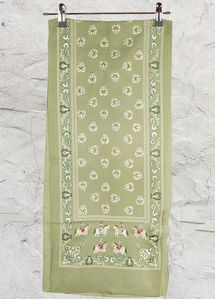 Оливковый шифоновый шарф, тонкий шарф с принтом, летний платок