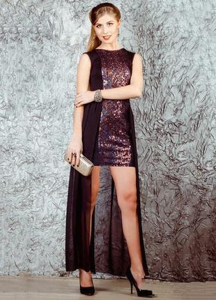 Вечернее платье solh со шлейфом в пайетках