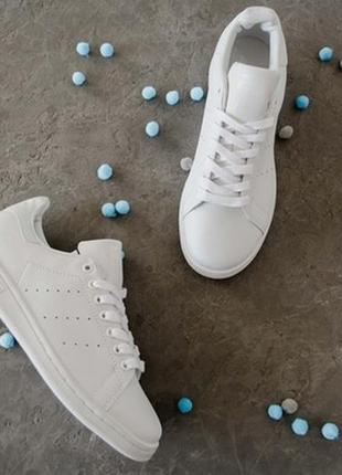Шикарные женские кроссовки adidas stan smith triple white2 фото