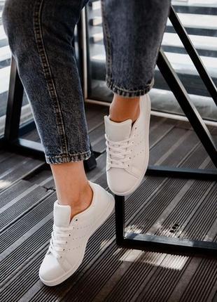 Шикарные женские кроссовки adidas stan smith triple white3 фото