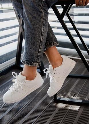 Шикарные женские кроссовки adidas stan smith triple white4 фото