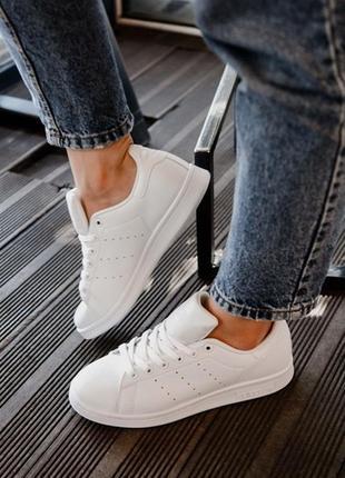 Шикарные женские кроссовки adidas stan smith triple white1 фото