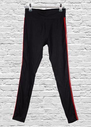 Черные лосины с лампасами, черные штаны с лампасами, приталенные штаны черные
