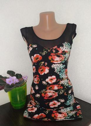 Хлопковое платье мини в цветочный принт.