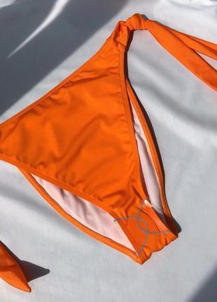 Роскошные оранжевые сатиновые высокие трусики низ купальника плавки asos 10 s-m