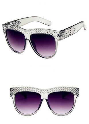 """Очки эксклюзивный дизайн пепельная оправа с окантовкой """"кристаллы"""", 100% - uv400 защита!"""