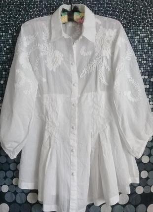 Дизайнерская блуза вышивка р. 46 от didier parakian