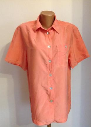 Коралловая шелковая блузка. /38- 48// brend giro puccino