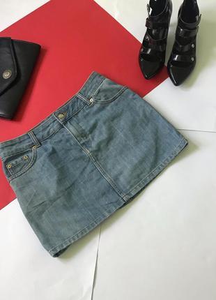 Стильная джинсовая мини юбка юбочка джинс. размер s