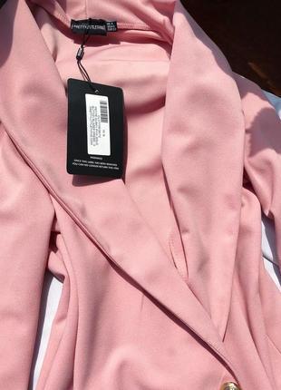 Невероятное премиум платье блейзер жакет пиджак пыльная роза xs-s prettylittlething1 фото