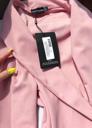 Невероятное премиум платье блейзер жакет пиджак пыльная роза xs-s prettylittlething10 фото