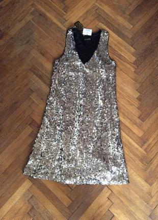 Шикарное платье в паетки house 38р