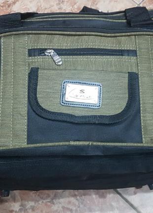 Сумка дорожная черная-хаки средняя, сумка дорожня 35 л