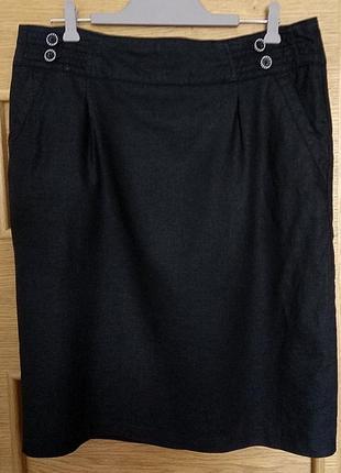 Юбка (лен,вискоза)прямая,офисная,черная английской марки george