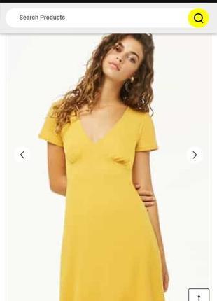 Милое платье в рубчик горчичного цвета