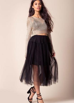 Чёрная базовая юбка макси плиссе фатин со слоганом valentino