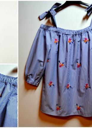 Новинка! шикарная блуза в полоску с вышивкой цветы хлопок dorothy perkins