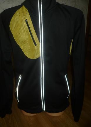 Вело кофта теплая m crane черная с желтыми вставками  48-50р.