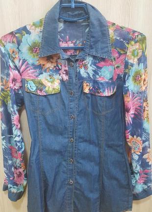 Джинсовая рубашка-блуза
