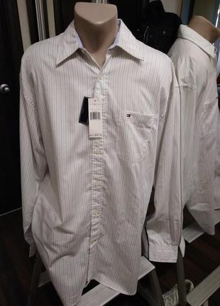Стильная хлопковая рубашка прямого кроя в полоску