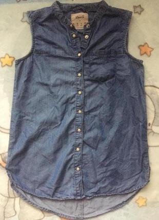 Джинсовая рубашка без рукавов и воротника denim co s\36\8 летняя блуза