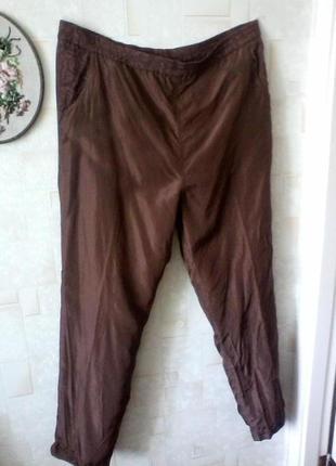 Шелковые брюки с высокой посадкой, шелк, разм.54