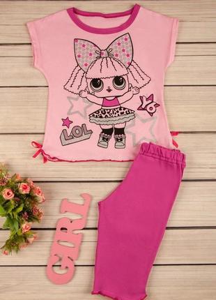 Модная яркая пижама для девочки с принтом лол из 100% хлопка#лол