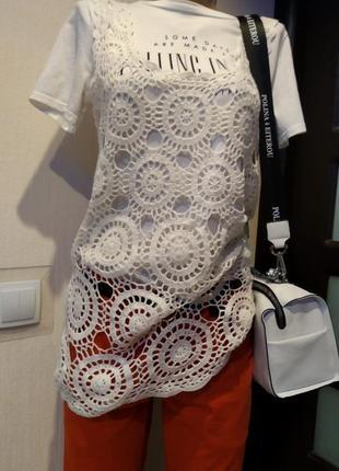 Классная вязаная крючком кофточка майка-топ блузка безач