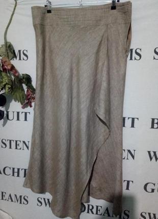 Меланжевая льняная юбка uk-18
