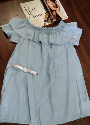 Крутое мини платье джинсовое тонкое летнее голубое