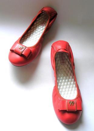 Красно-коралловые кожаные туфли балетки лодочки, 100% натуральная кожа