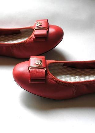 Красно-коралловые кожаные туфли балетки лодочки, 100% натуральная кожа3 фото