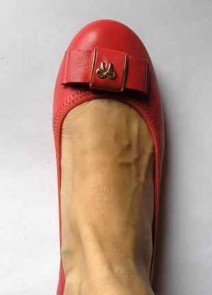 Красно-коралловые кожаные туфли балетки лодочки, 100% натуральная кожа6 фото