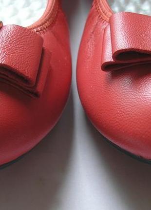 Красно-коралловые кожаные туфли балетки лодочки, 100% натуральная кожа7 фото