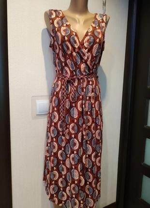 Стильное брэндовое платье миди прямого покроя трикотаж