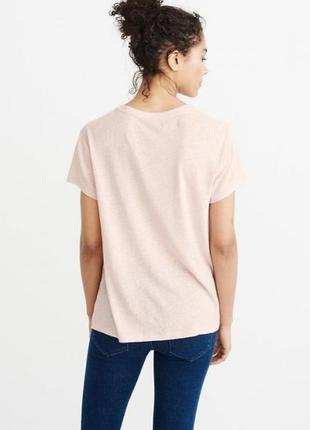 Пудровая льняная футболка abercrombie & fitch