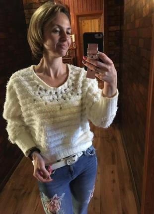 Красивый свитер травка укороченный оверсайз 42-44 s-m