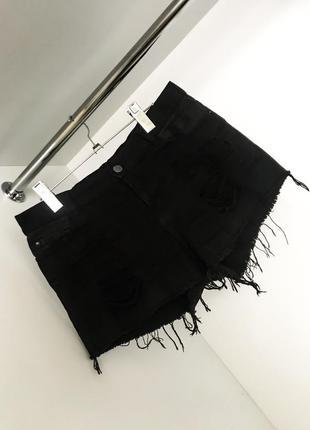 Женские модные завышенная талия посадка короткие джинсовые чёрные шорты рванки
