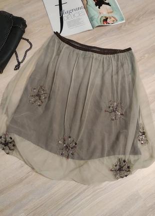 Брэндовая миди юбка фатин вышивка тонкая
