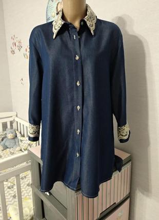 """Винтажная """"джинсовая"""" блуза из вискозной ткани encadee, размер 16/18"""